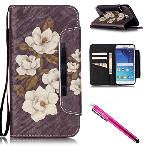 Price comparison product image Galaxy S6 Case, Galaxy S6 Wallet Case, Firefish Stand Flip Folio Wallet Cover Shock Resistance Protective Shell with Cards Slots Magnetic Closure for Samsung Galaxy S6-Begonia