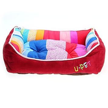 Cama / Cuna / Cojín / Caseta para perros, cuadrada y de tela de algodón, con rayas multicolores (Color cereza): Amazon.es: Juguetes y juegos