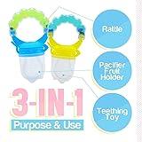 Baby Feeder for Boys 2 Pack, Grab n' Shake Rattle Teething Toy Set | Fresh Food-Fruit Silicone Feeder & Teether