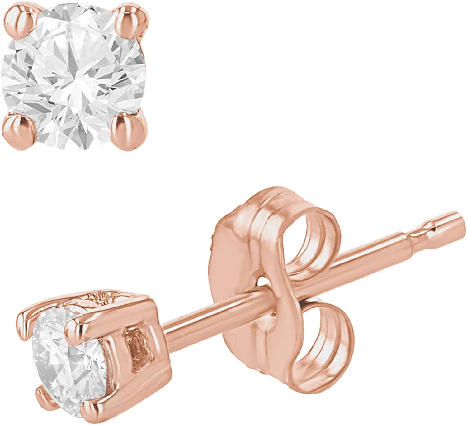 0.12-0.55 Carat Total Weight Round VS Diamond Stud Earrings for Women in 14K White, Yellow, or Rose Gold (0.30cttw and up IGL Certified)