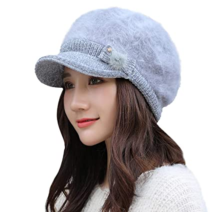 649add6c544 Image Unavailable. Image not available for. Color  EnjoCho 2018 Elegant  Women Knitted Hats Beanie Cap Autumn Winter Berets Ladies Female Fashion  Skullies ...