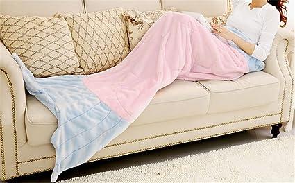Sirena manta adulto Niñas cola de sirena manta saco de dormir cumpleaños regalo forro polar doble