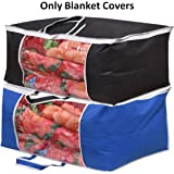 Yellow Weaves™ Blanket Cover/Bag, Storage Organiser with Designer Handles (Set of 2, Blue and Black Colour)