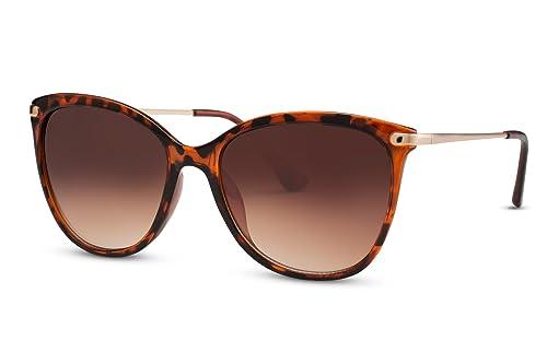Cheapass Gafas de Sol Ojos de Gato Negras Marrón Diseño Gafas Estampado Leopardo Grandes XXL Metálic...