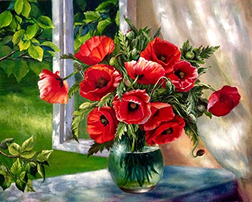 LB Paint by Numbers Kits for Adults, Acrylic Paint, 16 by 20 Inches Canvas, Framed, Floral Theme, Red Poppy Flowers in Soft Sunlight