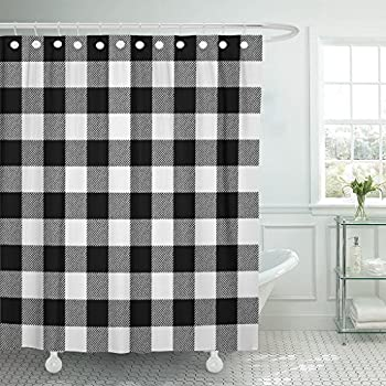 Emvency Shower Curtain Autumn White Buffalo Plaid Black Bright Cabin Check Checkered Waterproof Polyester Fabric 72