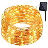 Image of GDEALER Solar String Lights 8 Modes 100LED 33ft Copper Wire Lights Waterproof Starry Fairy String Lights Ambiance Lighting for Outdoor Landscape Patio Garden Christmas Wedding(warm white)(1)