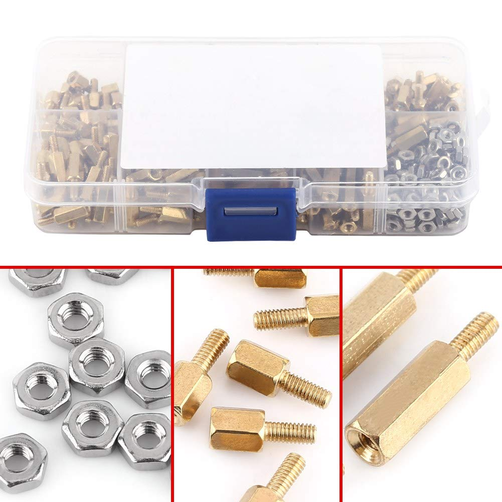 M2.5 Brass Male-Female Standoff /& Stainless Steel Hex Nuts Assortment in Box 360pcs