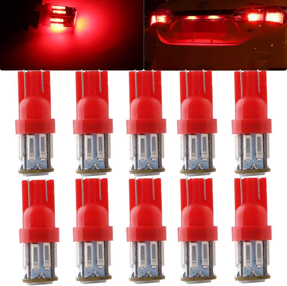 Qasim 10x T10 W5W LED Lampadina Ambra 7014 10SMD Chip Cuneo 168 194 per Auto RV Luce Targa Cupola Cruscotto Interna di Indicatore Laterale DC9-16V