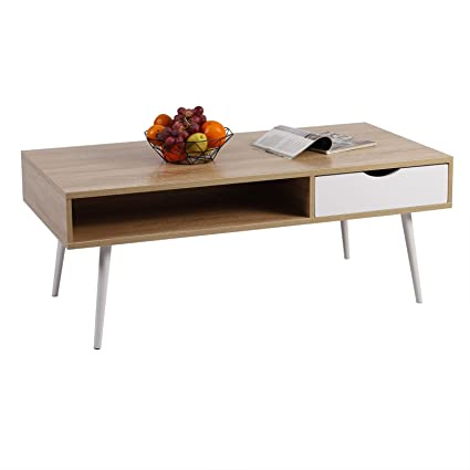 Excellent Woltu Coffee Table Side Table Wood Sofa Table End Table Tv Stand Low Board With Drawer And Open Tray Tv Unit Cabinet Stand Oak Tsg16Hei Pabps2019 Chair Design Images Pabps2019Com