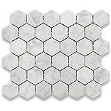 Carrara White Italian Carrera Marble Hexagon Mosaic Tile 2 inch Polished