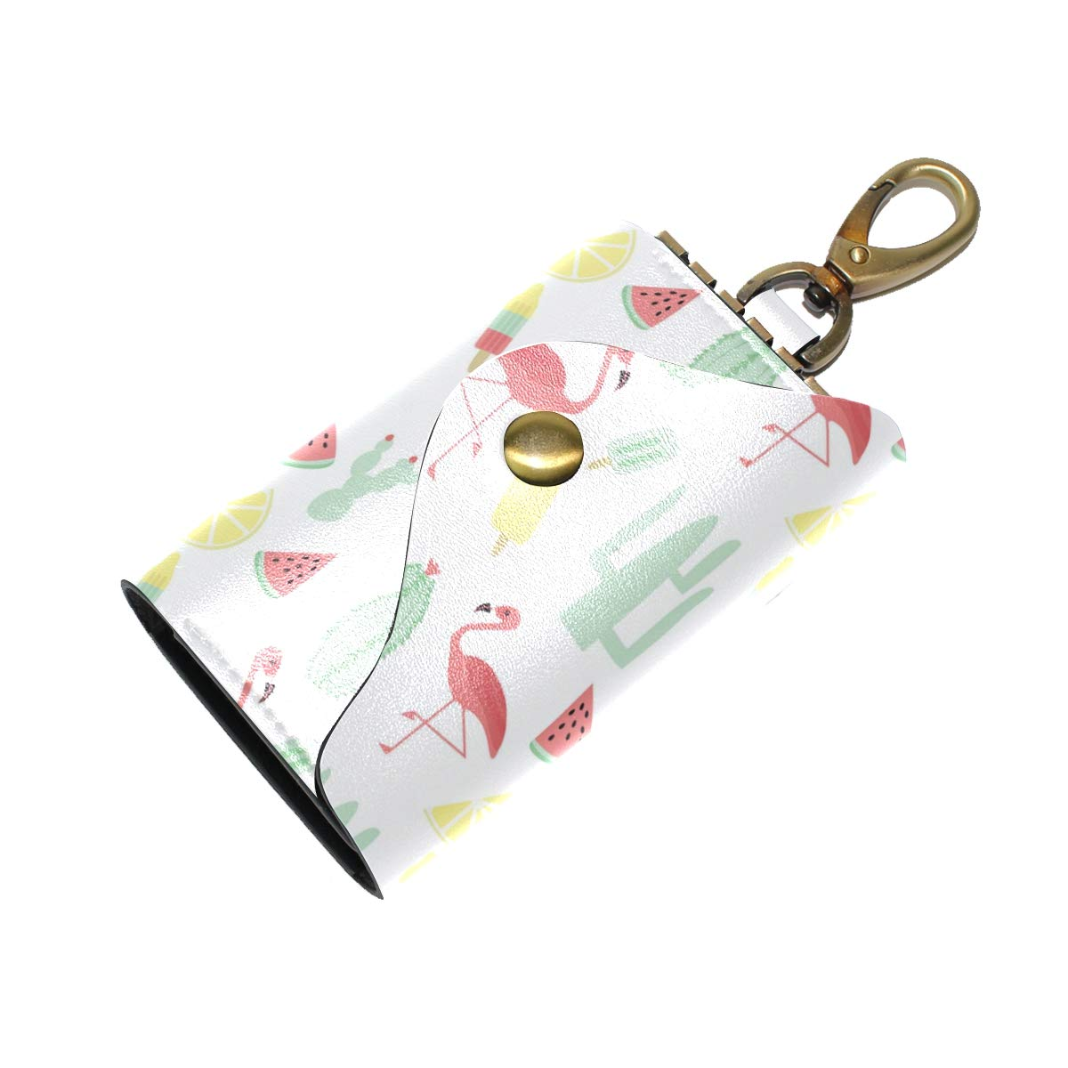 KEAKIA Pattern Flamingo Leather Key Case Wallets Tri-fold Key Holder Keychains with 6 Hooks 2 Slot Snap Closure for Men Women