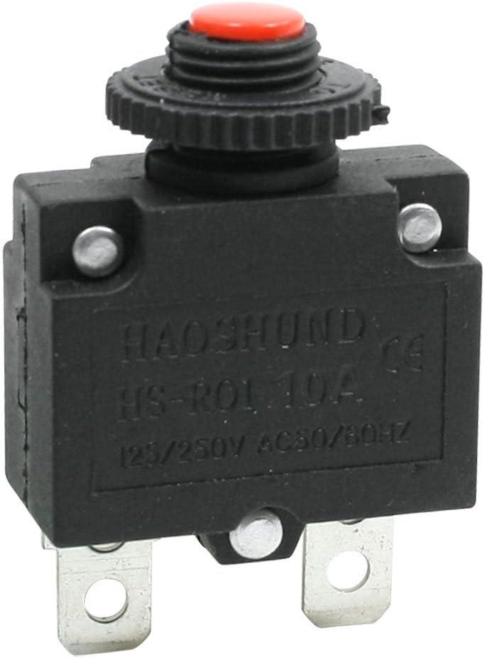 sourcingmap Disjoncteur 10/A AC 125//250/V surcharge Protection d/écran pour compresseur dair