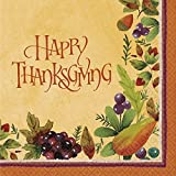 Thanksgiving Medley Gold Luncheon Paper Napkins, 16