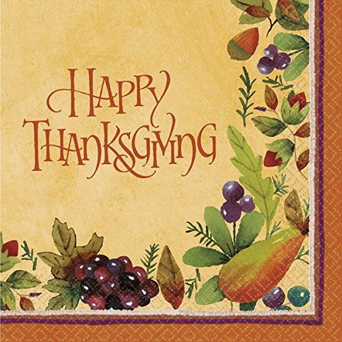 Autumn Harvest Thanksgiving Medley Luncheon Paper Napkins Party Tableware, 6