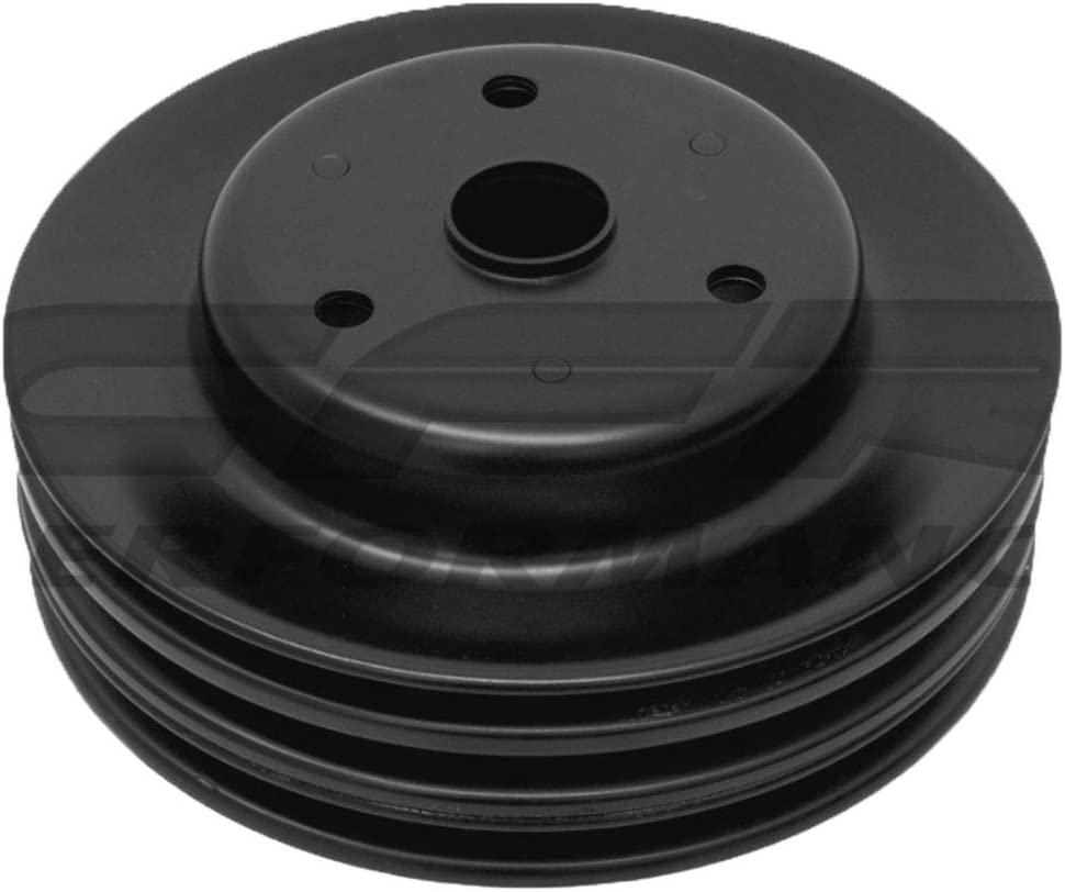 Fits 1969-85 Chevy SB Small Block Black Steel Crankshaft Pulley Long 3 Groove