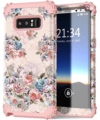 Price comparison product image Hocase Galaxy Note 8 Case, Shockproof Anti-Scratch Hybrid Silicone Rubber Bumper+Hard Shell Protective Case Cover with Lovely Peony Floral Print for Samsung Galaxy Note 8 (2017) - Rose Gold Pink