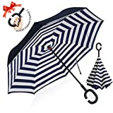 : ZOMAKE Double Layer Inverted Umbrella Cars Reverse Umbrella, UV Protection Windproof Large Straight Umbrella for Car Rain Outdoor With C-Shaped Handle(Blue stripes)