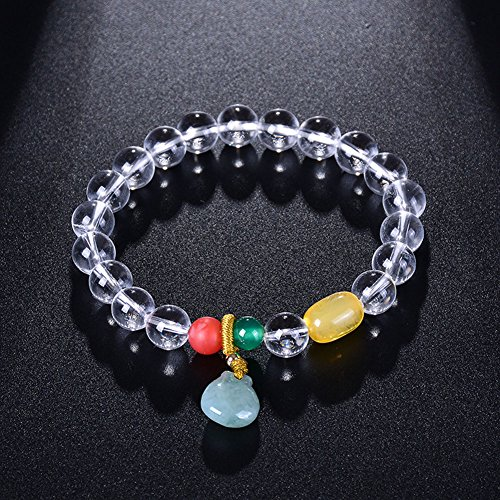 Cut Bracelets Coco (Natural Stone Beads White Clear Quartz Rock Crystal Stretch Bracelets and Jade Purse Blue-color Women Jewelry Gifts)