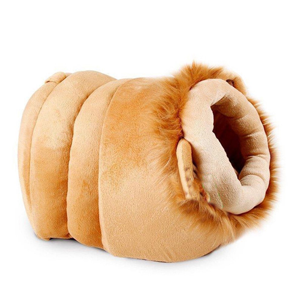 Creation Core Warm Plush Pet Bed House Cute Pet Cave for Small Dogs Cats with Removable Cushion inside, Lion L
