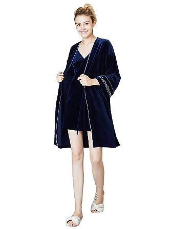 TieNew Mujer Sexy Pijama de Terciopelo Vestido con Bata de Manga Larga Conjunto de 2 Piezas, Mujer Pijama Kimono Elegantes Suaves Ropa De Dormir Camisón: ...