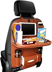 Apsung Car Backseat Protector with Leather Foldable Dining Table Tray for Baby and 10 Storage Organizers with Tablet Holder (Brown)
