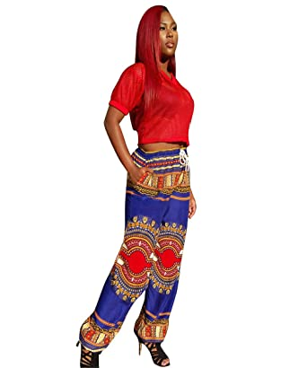54dc44ce518 Image Unavailable. Image not available for. Color  Shele Women s African  Print Dashiki Drawstring Waist Trousers Wide Leg ...