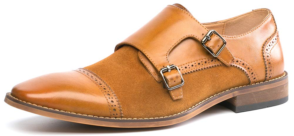 86f17fc703f52 Men's Dress Shoes Monk Strap Double Buckle Loafers Slip on Oxford ...