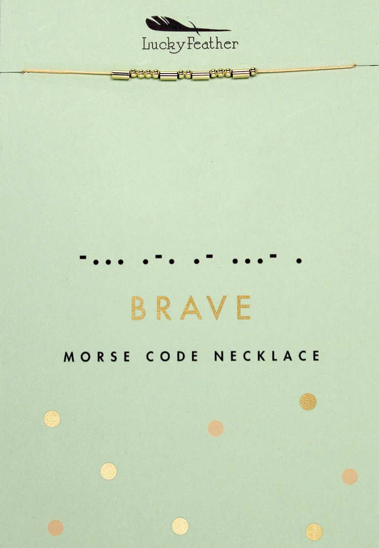 Lucky Feather Morse Code Secret Message Necklace - BRAVE