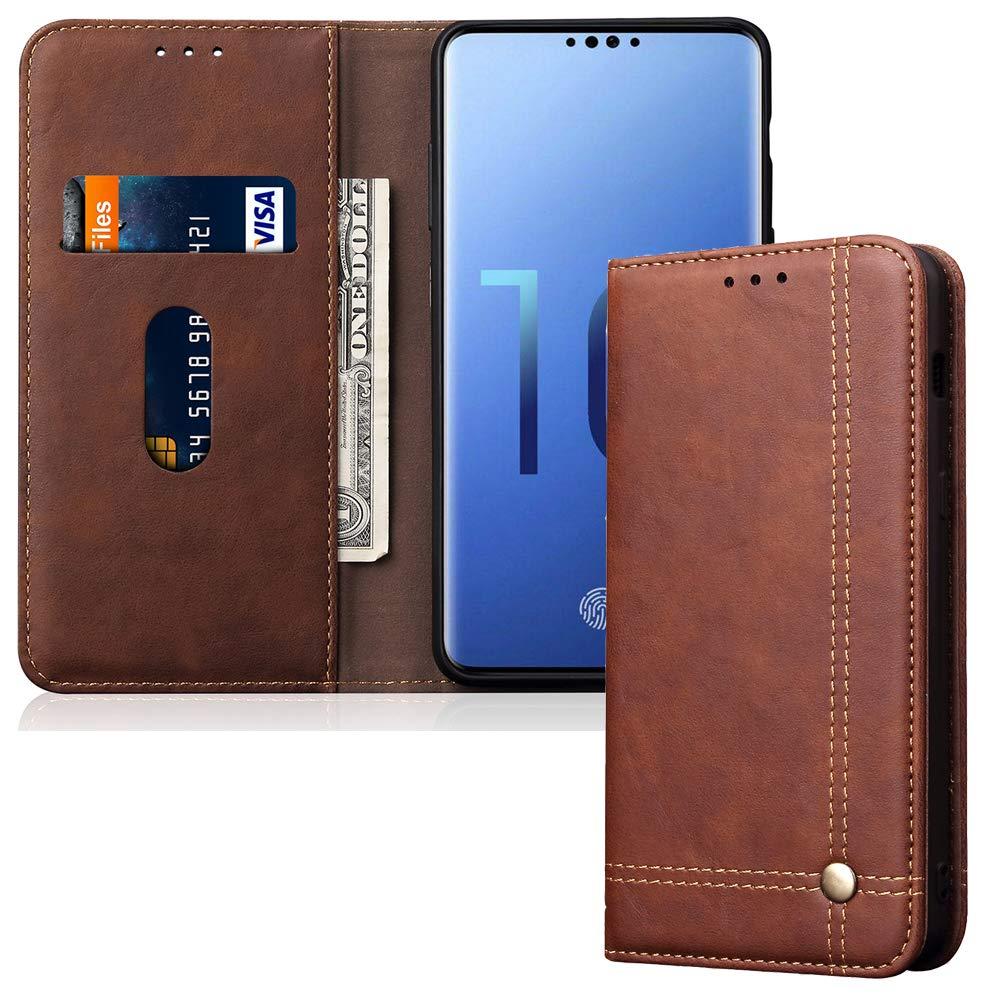 Leather Wallet Phone Case Kickstand Card Holder Flip Cover for Samsung Galaxy S10, Dark Brown