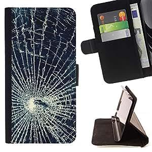 For Samsung Galaxy Core Prime / SM-G360 Case , Glass Accidentes Web Shattered- la tarjeta de Crédito Slots PU Funda de cuero Monedero caso cubierta de piel