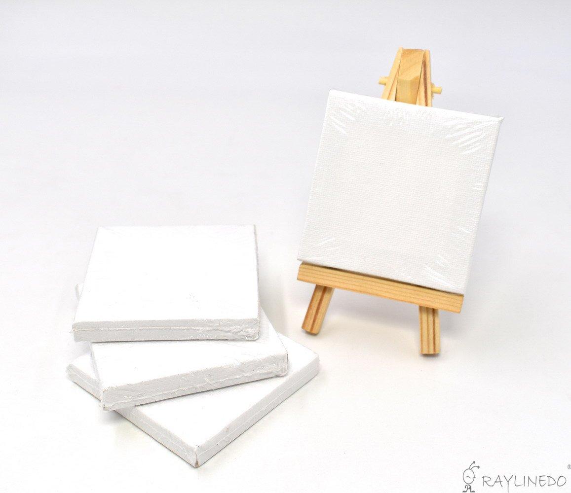 raylinedo® Set von 4 Mini Künstler, blanko, Leinwand Rahmen 7,6 x 7 ...