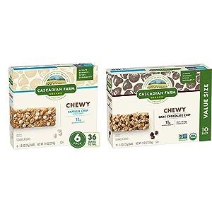 CASCADIAN FARM ORGANIC CHEWY GRANOLA BARS VANILLA CHIP, 44.4 oz (Pack of 6) & Chewy Granola Bar Organic non-GMO Chocolate Chip 10, 1.2 oz Bars