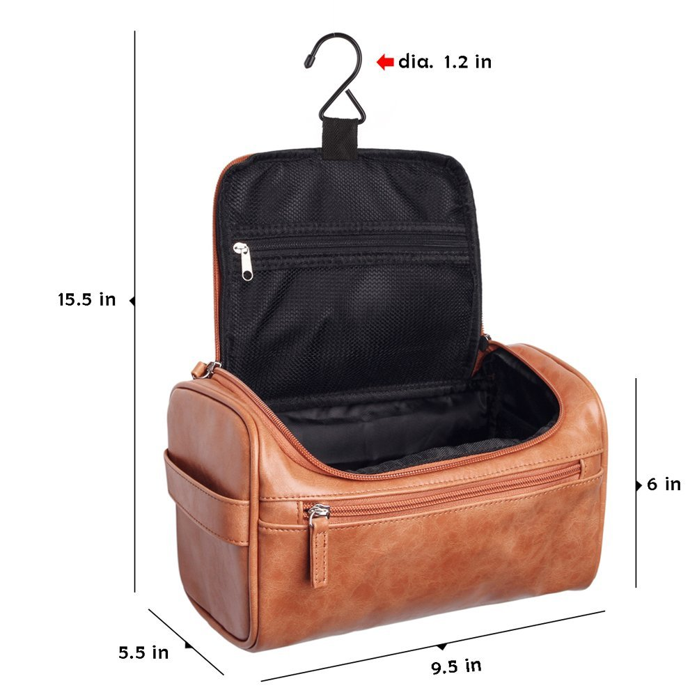 78caa6f73903 VASKER Travel Hanging Toiletry Bag for Men Waterproof (Brown)   Amazon.com.au  Fashion