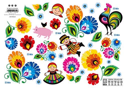 Polish Lowicz Folk Art Stickers, Set of 30
