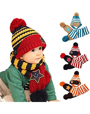 Baby Stripe Hat Scarf Set- Kids Stars Winter Warm Knitted Wool Pompons Earflap Hat and Knit Scarf Set