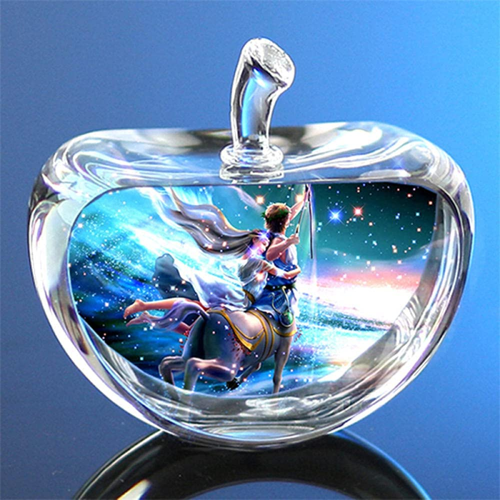 EMRL 80mm Crystal Zodiac Glass Constellation Apple Paperweight Birthday Gifts-Cancer
