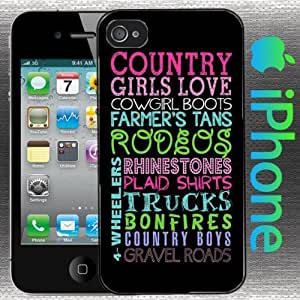 US SELLER A Country Girls Love Iphone 6 4.7 Case Hard Shell Cover Cowgirl Boots Farmers Tan Rodeos Rhinestones Plaid Shirts Trucks Bonfires Country Boys Gravel Roads 6 4.7 Wheelers