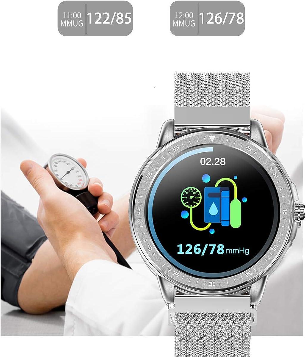 Smartwatch Montre connectée en acier inoxydable pour homme avec écran tactile, tension artérielle, fréquence cardiaque, surveillance du sommeil, podomètre, écran couleur Argenté