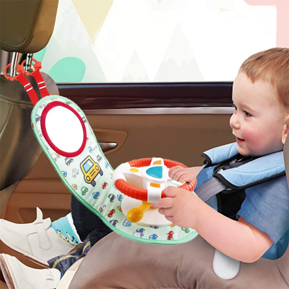 Amazon Com Wishtime Car Seat Play Center Toy In Car Wheel Musical Activity Center Toy Baby Travel Companion Entertain And Relax Easier Drive With Sounds And Lights For Baby Toys Games