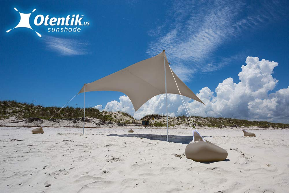 Otentik Beach Sunshade - with Sandbag Anchors - The Original Sunshade Since 2011 (Grey, Large 8.5 x 9 ft and 6.5 ft Tall - up to 7 People) by Otentik