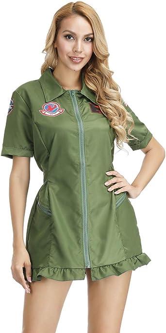 Top Gun Disfraz de Aviador para Mujer, Traje de Vuelo para Adultos ...