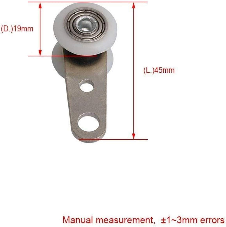 Casters 10PCS 45x19mm Metal Bearing Pulley Block with Two Plastic Wheel for Wardrobe Cupboard Window Cabinet Sliding Doors Universal Wheel