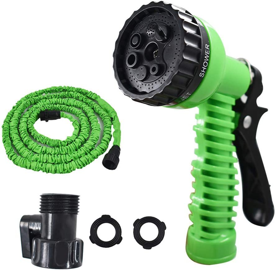 findmall Deluxe 25 50 75 100 Feet Expandable Flexible Garden Water Hose w/Spray Nozzle for Outdoor Lawn Car Watering Plants (Green,25FT)