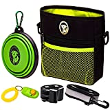 Dog Treat Bag – Training Pouch for Small and Large Dogs with Clicker and Collapsible Food Bowl BPA Free – Pet Treats Tote Bag with Waist and Shoulder Reflective Straps and Belt Clip