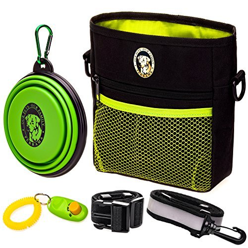 PERRAMA Dog Treat Bag, Training Pouch for Small and Large Dogs with Clicker and Collapsible Food Bowl BPA Free – Pet Treats Tote Bag with Waist and Shoulder Reflective Straps and Belt Clip (Black) ()