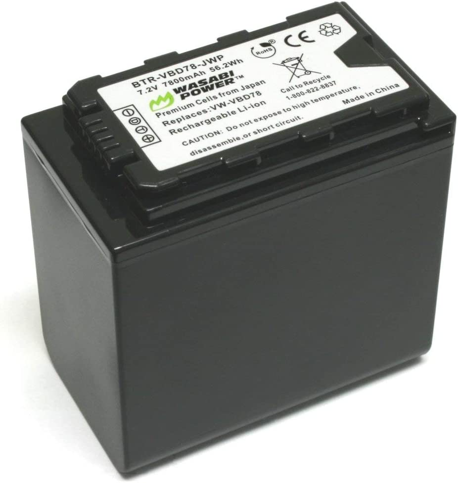 2-Pack HC-X1000 AG-DVX200 AG-HVX201 AJ-PCS060 VW-VBD78 AG-VBR89G and Panasonic AG-3DA1 AJ-PX298 AG-HPX255 AG-DVC30 /& Charger for Panasonic VW-VBD58 HDC-Z10000 Wasabi Power 7800mAh Battery