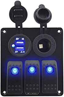 Jeemitery 3 Gang Rocker Switch Panel with Power Socket 3.1A Dual USB Voltmeter Wiring Kits and Decal Sticker Labels DC12V//24V