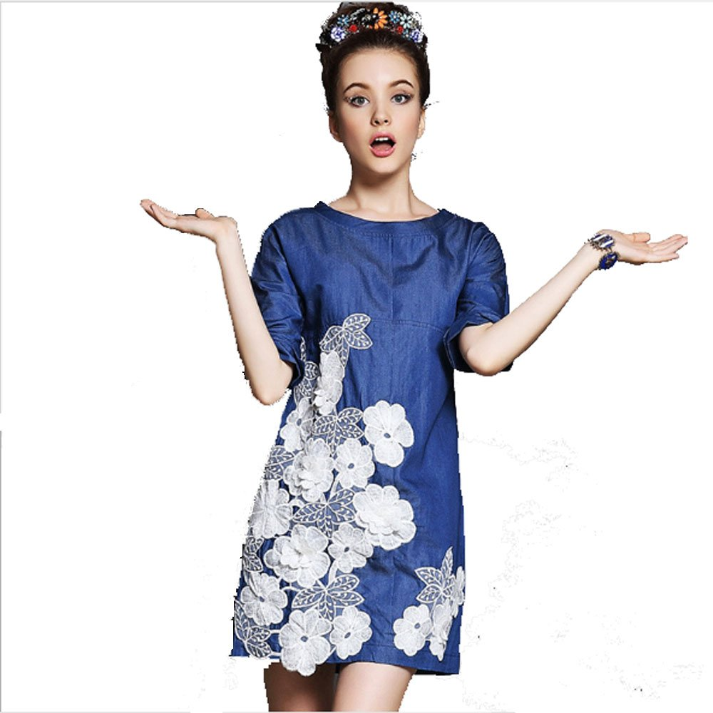 Mogreay Summer new sleeve dress ba Lin three-dimensional flowers loose (S)