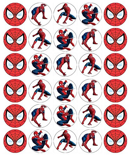 30 x Edible Cupcake Toppers – Spiderman Themed Collection of Edible Cake Decorations | Uncut Edible Prints on Wafer Sheet -